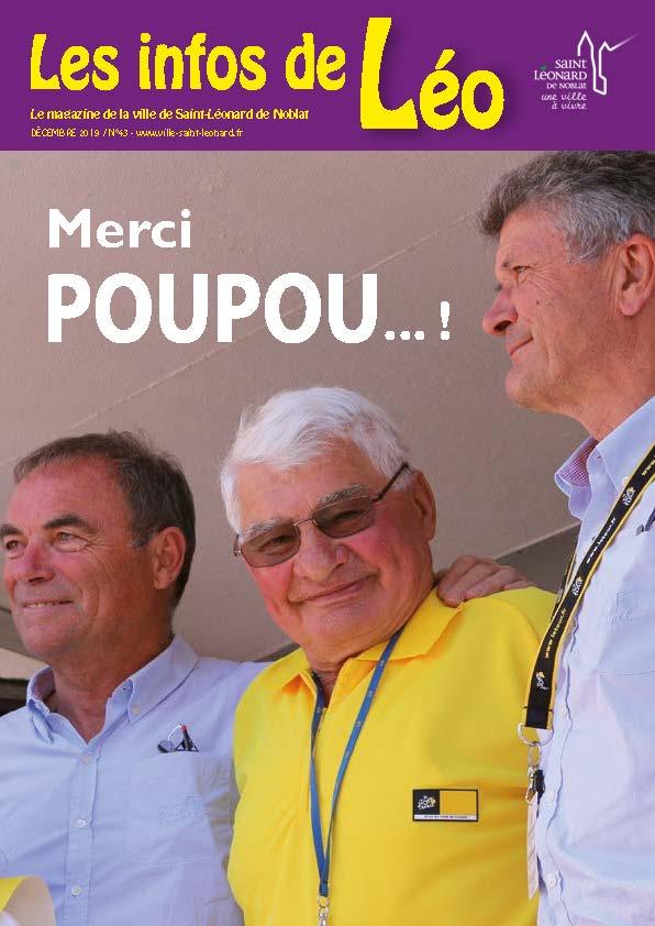 Raymond Poulidor en couverture du magazine de la ville de Saint-Léonard de Noblat (décembre 2019)